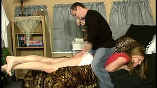 Teen pinned facedown and spanked by BF cam 2