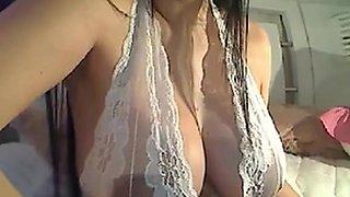 Hot sexy babe strips off her underwear then masturbates