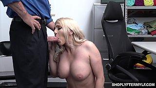 To punish curvy blonde MILF Christie Stevens cop fucks her doggy hard