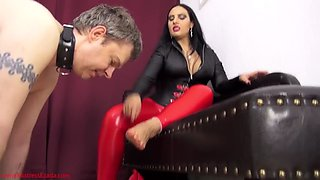 Mistress ezada cum on feet and lick