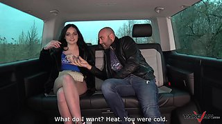 Tattooed gothic teen brunette Andy gets her puusy creamed in a car