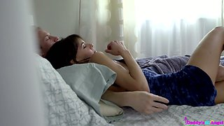 Whorish stepdaughter seduces her stepdad in front of sleeping mom