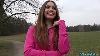 Hot ass Ella Rose takes money to be fucked from behind in the forest
