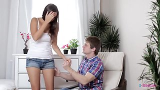 Young Russian Brunette Enjoys Erotic Couple Sex With Her Boyfirend - Cumshot