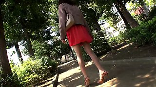 Skinny Japanese babe invites two guys to fulfill her desires
