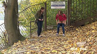 Brunette Friends Piss Together By River