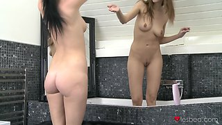Amazing lesbian sex in the shower with sexy lesbo model Eufrat Mai