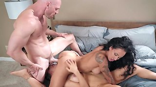 Bald stud is taking care of two highly lustful ladies