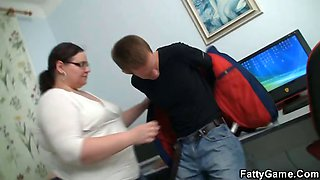 Fatty teacher lures young stud