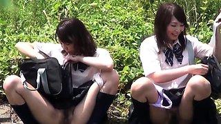 Japanese teens squat to pee