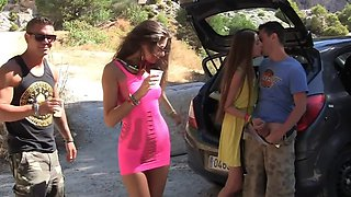 These randy folks interrupted their road trip because of some fun