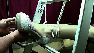 Sexy amateur teen in high heels learns a lesson in bondage