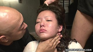 Obedient Japanese whore Maki Kozue is masturbated by lots of aroused studs