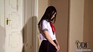 Schoolgirl Gets A Wooden Dildo