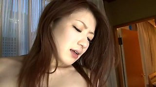 Hairy Japanese babe sucks and gets boned