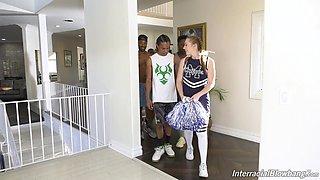 Black basketball team is face fucking white cheerleader Arietta Adams