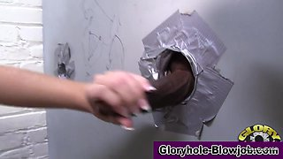 Gloryhole whore swallows