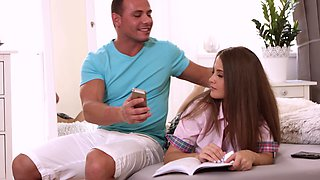 Teen babe seduced by her big stepbrother