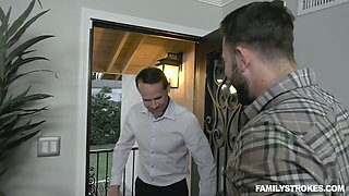 Naughty cum-thirsty chick Kate Kennedy gives a blowjob to boyfriend's cousin
