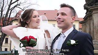 HUNT4K. Cute teen bride gets fucked for cash in front