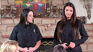 Aroused women strips from their cop uniforms to share pussy in lesbian trio
