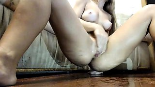 Hot rookie with lovely perky nipples toying her wet snatch