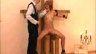 Old master spanking his hot tied brunette slut