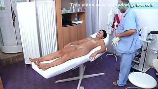 Chubby Bearded Doctor Engages Skinny Girls Breasts Exam