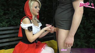 german rotkaepchen skinny blonde teen at blowjon with cum swallow