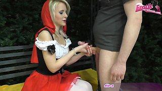 german rotkaepchen skinny blonde teen at blowjon with cum swallow