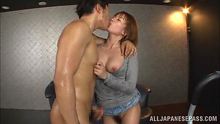 Rika Hoshimi hot Asian milf sucks cock and gets cum on her face