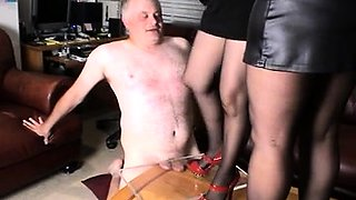 Dominant amateur ladies in high heels punishing a fat cock