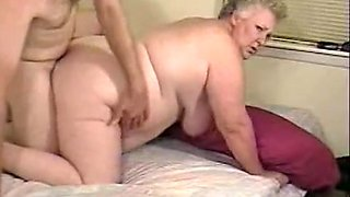 Chubby grey haired granny fucks in bed