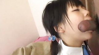 Minami Asaka Lovely Asian schoolgirl plays with her big