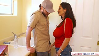 Horny plumber is treated with a nice blowjob by big racked Ava Addams