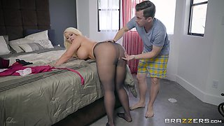 busty blonde milf takes it from her stepson in the ass