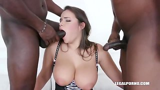 Busty Woman With Ample Assets Is Having Sex With Two Black Guys, At The Same Time