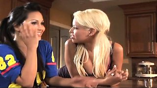 Pussy toying blonde fetish lesbians piss on each other