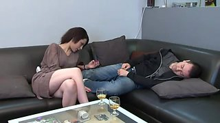 Two hot femdom French mistresses dominating a sexy boy