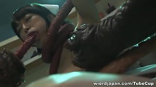 Indecent Japanese AV Model is nasty nurse in bukkake