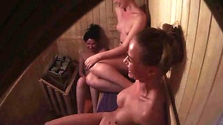 Three Hot Girls Have a Fun in Pools Sauna