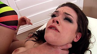 A babe that loves her vibrator is experiencing rough sex today