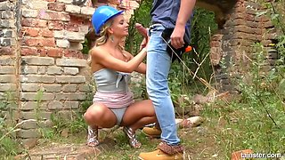 Smashing blonde babe got nailed while standing and experienced one of the most intense orgasms