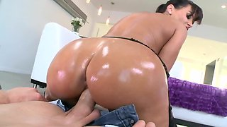 Oiled up MILF honey having intense fucking with a stud