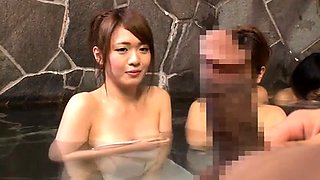 Pretty Asian wife with lovely tits enjoys a cock in public