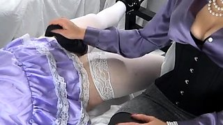 Submissive amateur crossdresser receives a sensual handjob