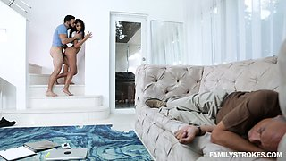Step niece Claire Black is craving for dirty quickie in front f sleeping stepdad
