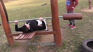 I went by a park today. Inside was an outdoor gym so I