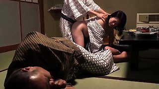 Buxom Oriental wife cheats on her husband with a younger guy