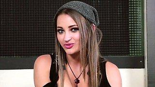 Lesbian teen cuties flashing at fake casting